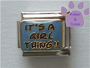 IT'S A GiRL THiNG Italian Charm on blue enamel