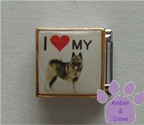 I love (red heart) my Akita Malamute Husky Photo Italian Charm