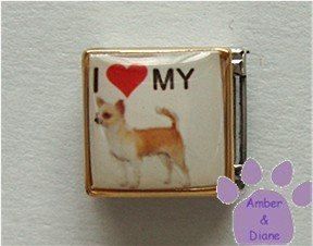 I love (red heart) my Chihuahua 9mm Custom Photo Italian Charm