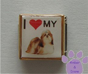 I love (red heart) my Shih Tzu 9mm Custom Photo Italian Charm