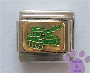 Green Army Tank Italian Charm on Goldtone Background