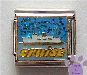CRUISE Ship Italian Charm with Blue Glitter Sky