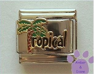 Tropical Palm Tree Italian Charm - Palmtree is letter T