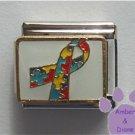 Autism Awareness Support Rainbow Puzzle Ribbon Italian Charm on white