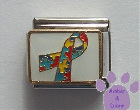 Autism Awareness Support Rainbow Puzzle Ribbon Italian Charm on white