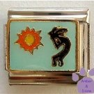 Kokopelli Italian Charm Symbol of Fertility on pale blue