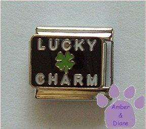 LUCKY CHARM Italian Charm with 4 Leaf Clover on Black Background