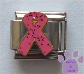 Pink Glitter Ribbon Italian Charm Breast Cancer Awareness