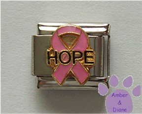 Pink Ribbon with HOPE Italian Charm for Breast Cancer Awareness