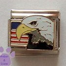 American Eagle with United States Flag Italian Charm