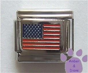 American Flag Italian Charm United States of America, silvertone