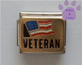 American Veteran Italian Charm with US Flag
