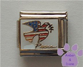 Dove of Peace American Flag Italian Charm with an olive branch