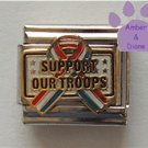 Support Our Troops Italian Charm Red White Blue Patriotic Ribbon