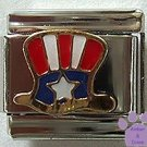 US Flag American Uncle Sam Hat Italian Charm