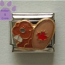Canadian Beaver Italian Charm with a red Maple Leaf on its Tail