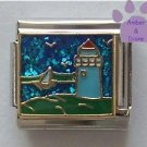 Light House Italian Charm with Blue Glitter Ocean