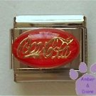 Coca Cola in Gold letters on Red Enamel Italian Charm