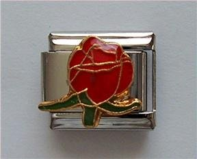 "Beautiful Red Rosebud Italian Charm means ""I love you"""