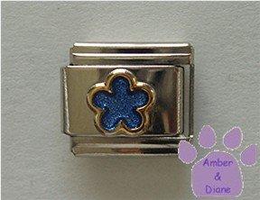 Blue Shimmer Flower Italian Charm
