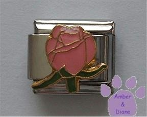 "Gorgeous Pink Rosebud Italian Charm means ""Perfect happiness"""