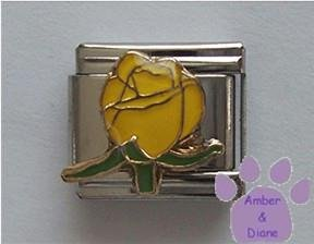 "Pretty Yellow Rosebud Italian Charm means ""joy and happiness"""