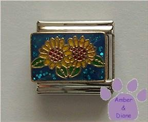 "Sunflowers on blue glitter background Italian Charm ""Adoration"""