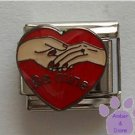 Be Mine Italian Charm Holding Hands on Red Heart