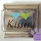 Hearts and Kisses Italian Charm on Silvertone Background