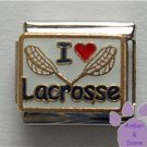 I love (red heart) Lacrosse Italian Charm with Lacrosse Sticks