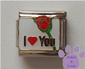 I Love You Italian Charm with a Red Heart and a Red Rosebud
