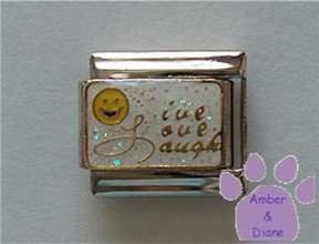 Live Love Laugh Smiley Face Italian charm gold on white glitter