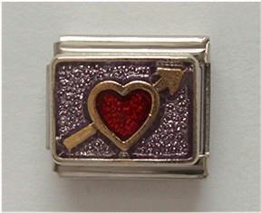 Red Heart Pierced with an Arrow Italian Charm