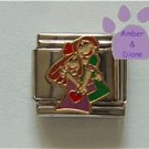 Sisters Hugging or Best Friends Italian Charm with red hearts