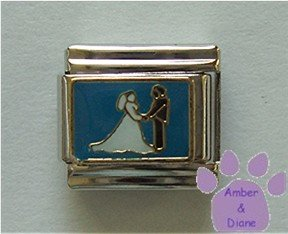 Bride and Groom Italian Charm holding hands on a blue background