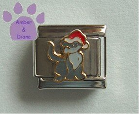 Christmas Cat Italian Charm Kitty with a Santa Hat