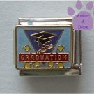 GRADUATION Italian Charm on blue enamel - mortar board and diploma