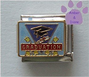 GRADUATION Italian Charm on blue enamel - mortar board and diploma