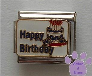 Happy Birthday with Cake Italian Charm with Candles
