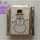 Snowman Italian Charm on a White Glitter Background
