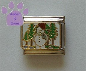 Snowman Italian Charm Snow  Man in a Field