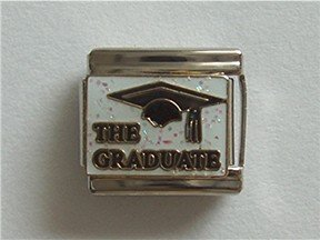 THE GRADUATE Italian Charm with black mortarboard cap
