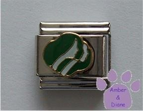 Girl Scout Symbol Italian Charm in green and white