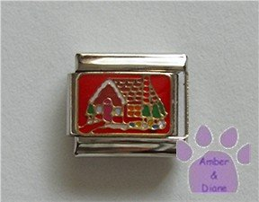 Gingerbread House Italian Charm on Christmas red