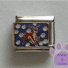 Reindeer Prancing in the Snow Italian Charm on dark blue