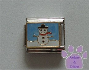 Snowman with a Black Hat and Red Scarf Italian Charm blue sky
