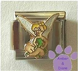Gorgeous Tinkerbell Seated with Glitter Wings Italian Charm
