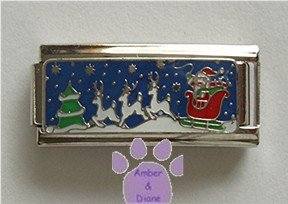 Santa in his Sleigh Super Link Italian Charm with Reindeer flyin