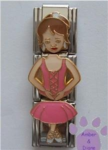 Ballerina Triple Link Italian Charm Pink - Brunette with Tutu