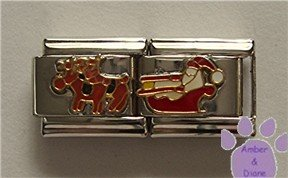 Double Link Santa and his Sleigh Italian Charm with his reindeer